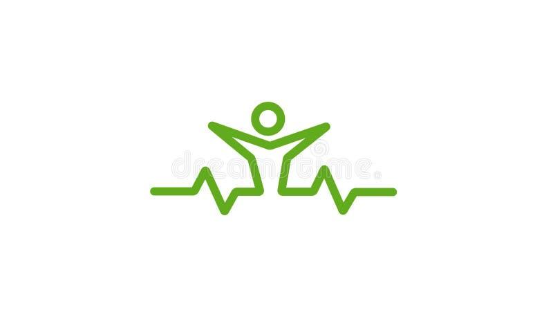 Gezond het Ontwerpembleem van de Impulslichaamsverzorging stock illustratie