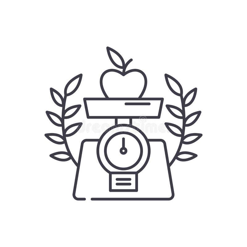 Gezond het pictogramconcept van de voedsellijn Gezonde voedsel vector lineaire illustratie, symbool, teken vector illustratie