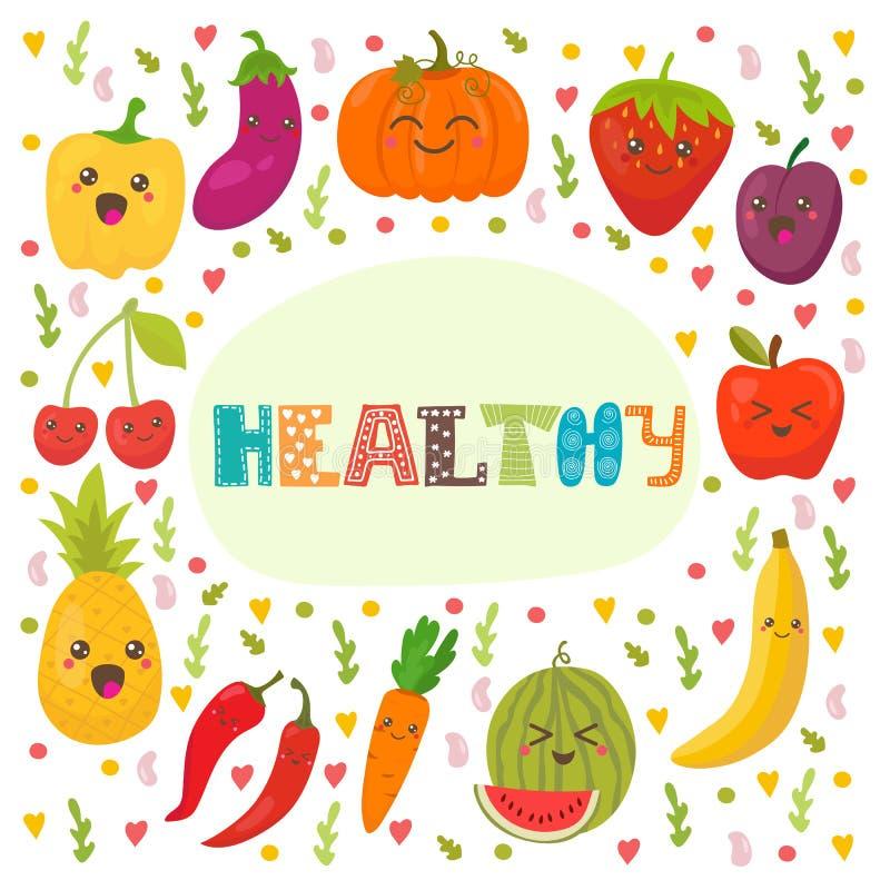 Gezond Leuke gelukkige vruchten en groenten in vector stock illustratie