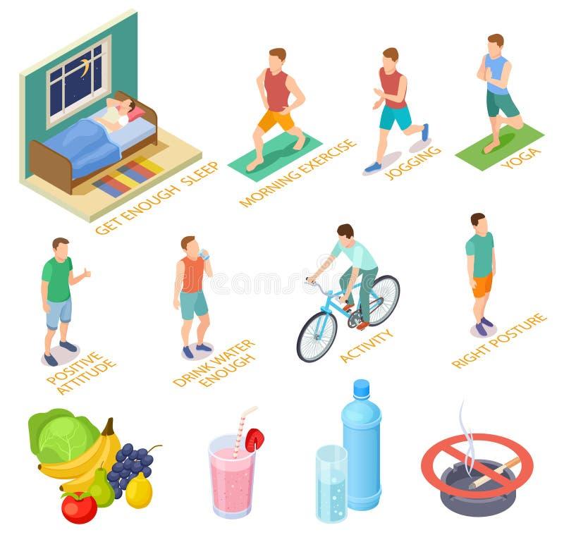 Gezond levensstijl isometrisch concept Regelmatige oefeningen, medische het controleren dieetvoeding De goede activiteiten van de royalty-vrije illustratie
