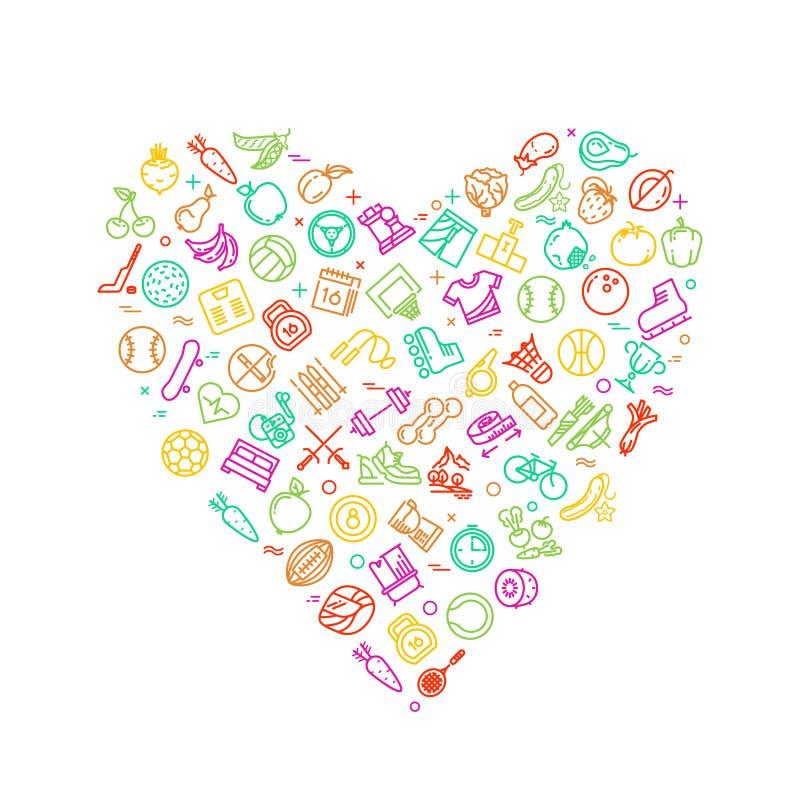 Gezond levensstijl modern embleem in hartvorm met pictogrammen van de geschiktheids de dunne lijn vector illustratie