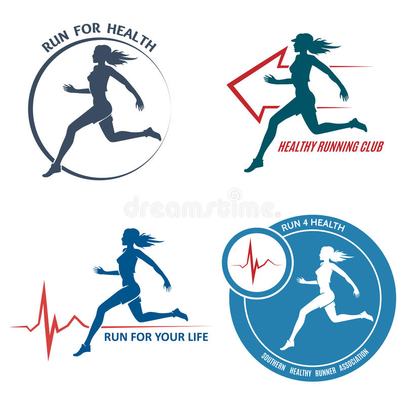 Gezond Looppasembleem en Logo Set vector illustratie
