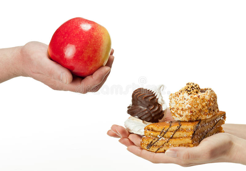 Gezond of ongezond voedsel? royalty-vrije stock fotografie