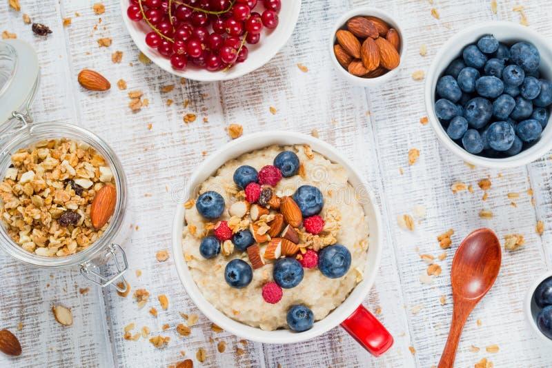 Gezond ontbijt met havermeelhavermoutpap, muesli en verse vruchten royalty-vrije stock afbeelding