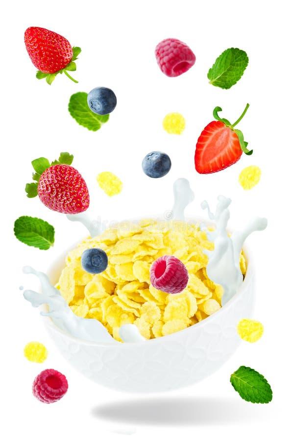 Gezond ontbijt met melk, vliegende cornflakes, frambozen, st royalty-vrije stock afbeelding