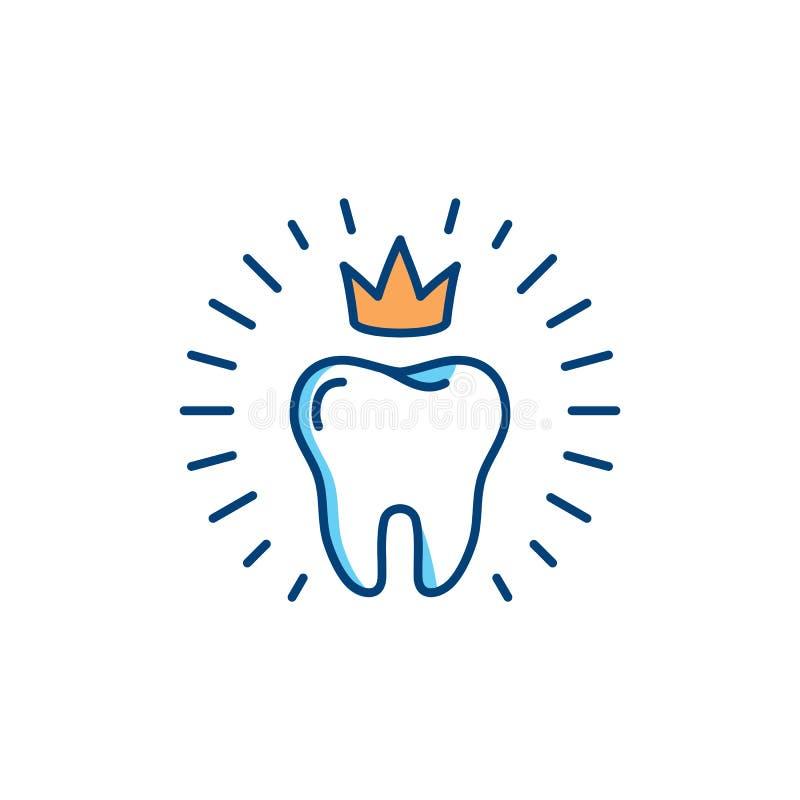 Gezond tandenpictogram Het tandconcept van het zorgembleem, mondelinge hygiëne, tandkliniek logotype malplaatje Dunne de stomatol royalty-vrije illustratie