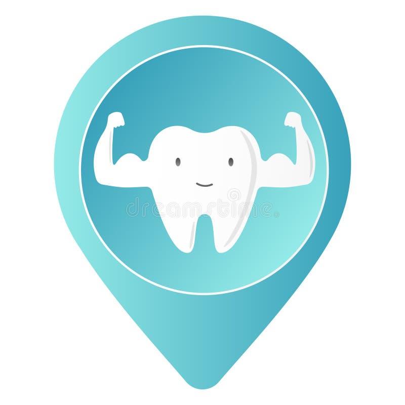 Gezond tandkarakter die spier met smileygezicht tonen Ge?soleerd over witte achtergrond Enige Witte en zeer Sterke Spier royalty-vrije illustratie