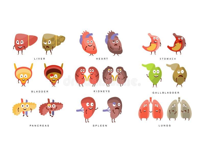 Gezond versus de Zieke Menselijke Illustratie van Organeninfographic royalty-vrije illustratie