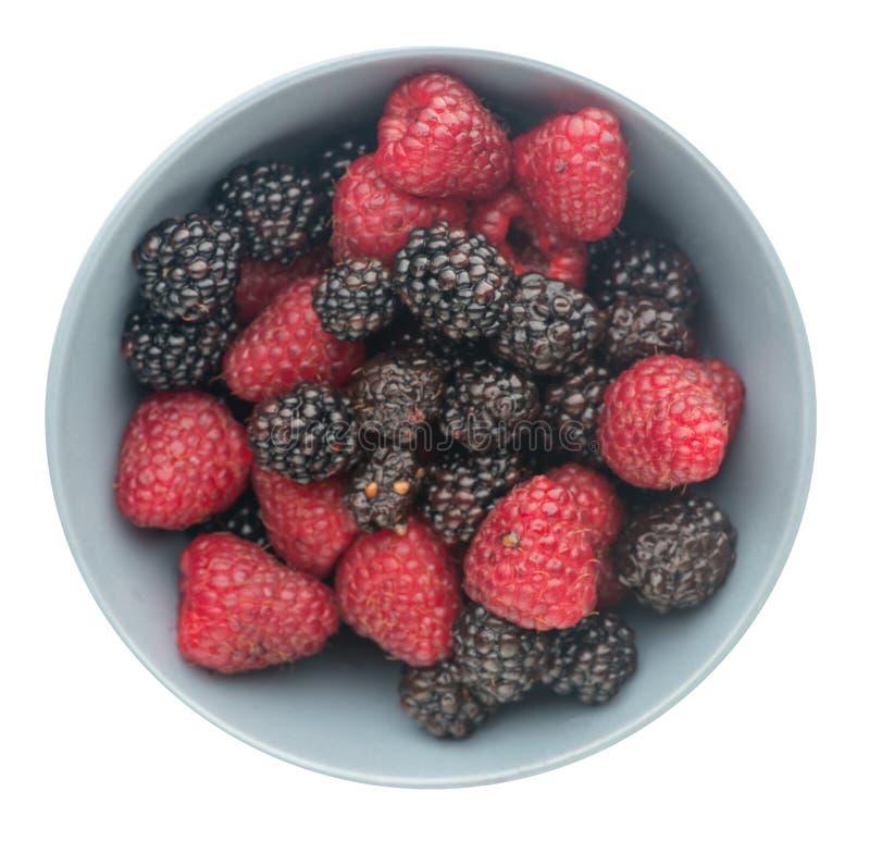 Gezond voedsel braambes en framboos op witte backgr wordt geïsoleerd die stock fotografie