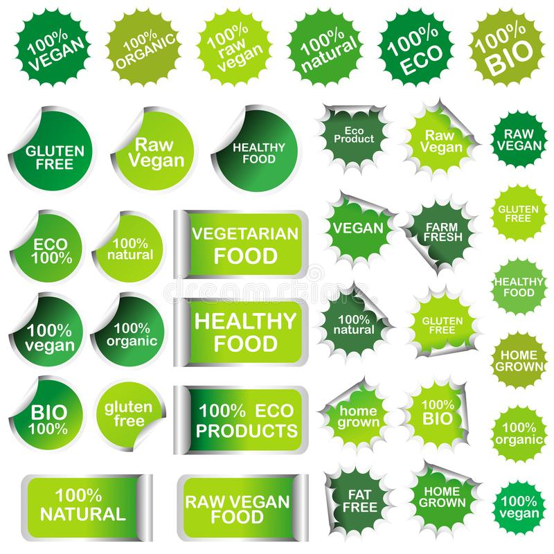 Gezond voedsel en de inzameling van van natuurlijk productstickers en etiketten vector illustratie