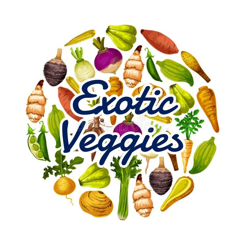 Gezond voedsel, exotisch het op dieet zijn veggies rond pictogram royalty-vrije illustratie