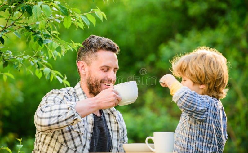 Gezond voedsel Familiedag het plakken de vader en de zoon eten openlucht Organisch en natuurvoeding Klein jongenskind met papa zi royalty-vrije stock foto's