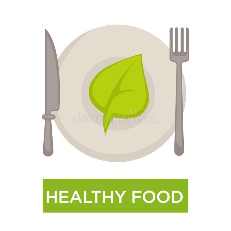 Gezond voedsel geïsoleerd pictogram groen blad op plaat stock illustratie