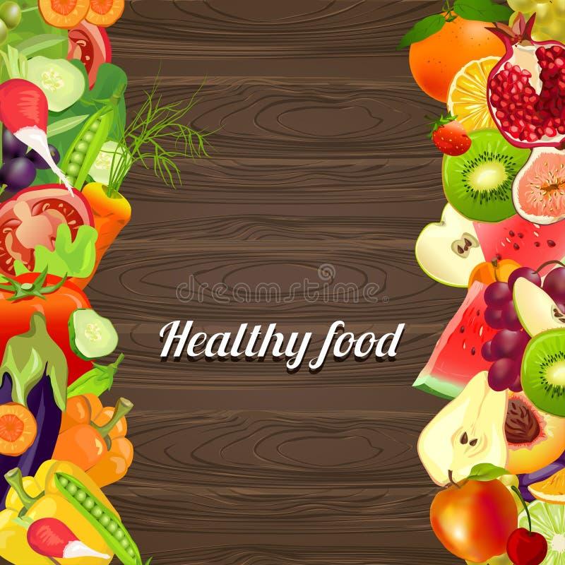 Gezond voedsel Groenten en Vruchten Houten achtergrond royalty-vrije illustratie