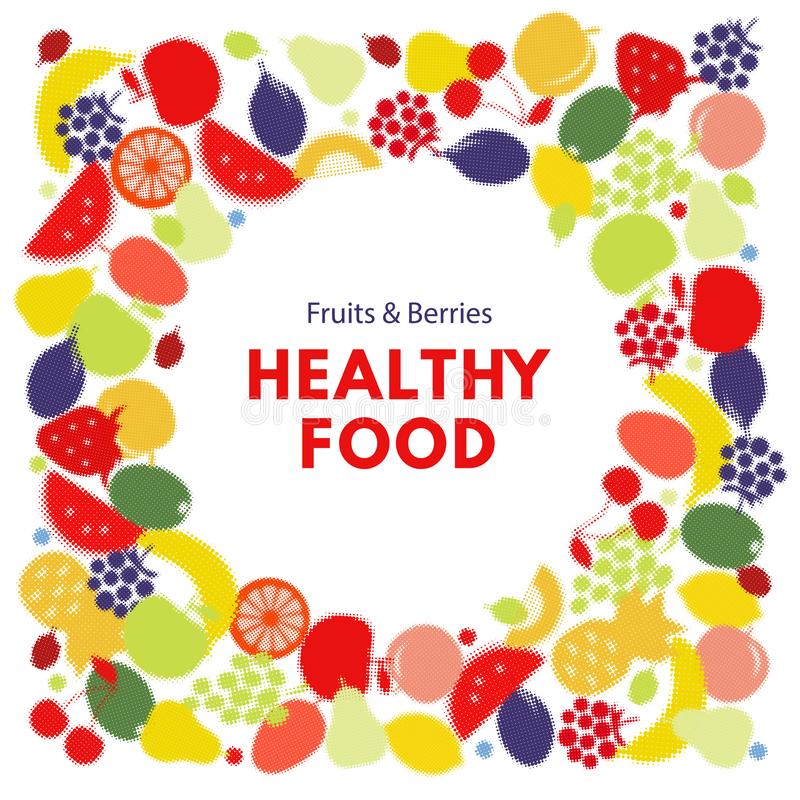 Gezond voedsel Halftone kleurrijke vectorachtergrond vector illustratie