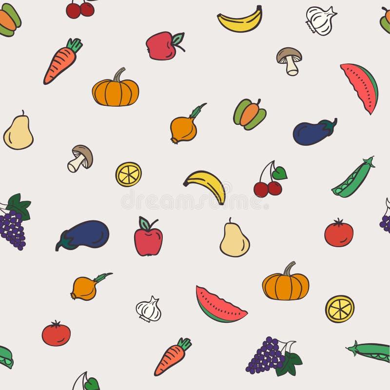 Gezond voedsel naadloos patroon stock illustratie