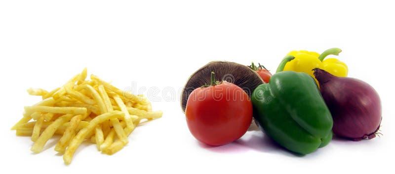 Gezond voedsel, ongezond voedsel 2 stock afbeelding