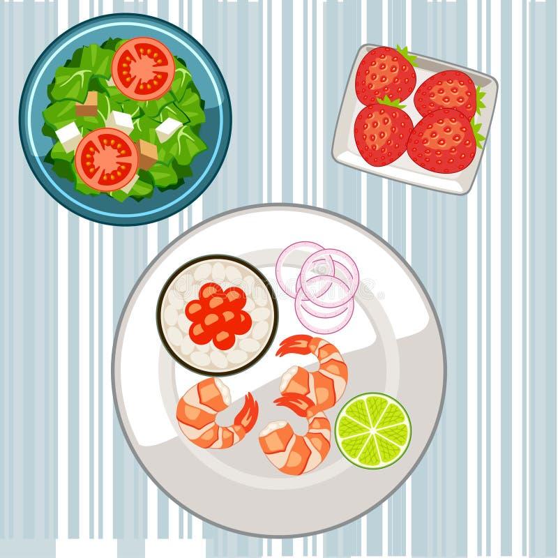 Gezond voedsel op de lijst royalty-vrije stock fotografie