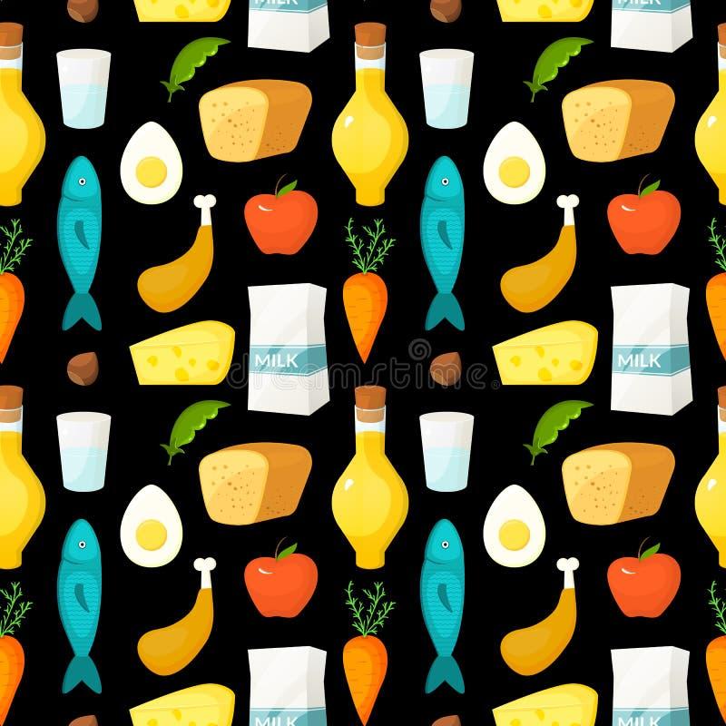 Gezond voedsel vector naadloos patroon vector illustratie