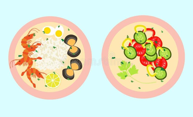 Gezond voedsel vectormalplaatje vector illustratie