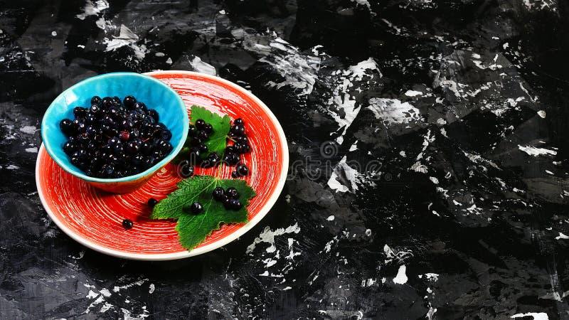 Gezond voedsel Vers geplukte bosbessen of bessen op een plaat, op de donkere achtergrond Exemplaarruimte, het concept het gezonde royalty-vrije stock fotografie