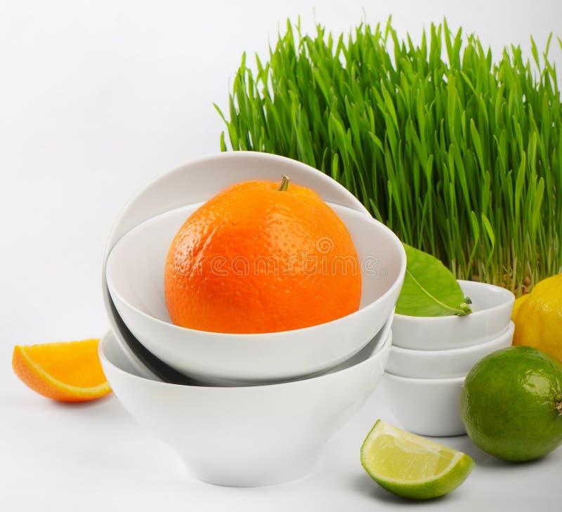 Gezond voedsel - verse citrusvrucht stock foto's