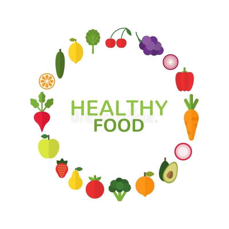 Gezond voedselconcept Dieet en natuurvoedingmalplaatje met vlakke vruchten, groenten en copyspace Verse groenten en stock illustratie