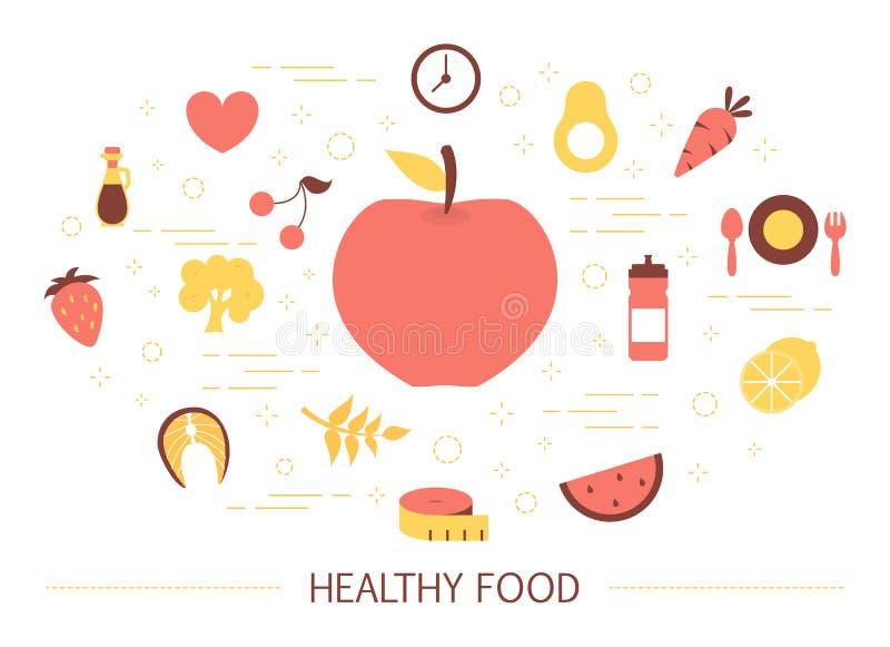 Gezond voedselconcept Idee van organisch menu vector illustratie