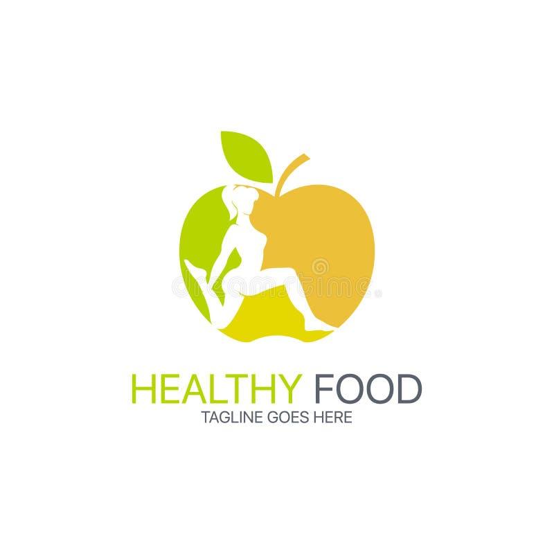 Gezond voedselembleem vector illustratie