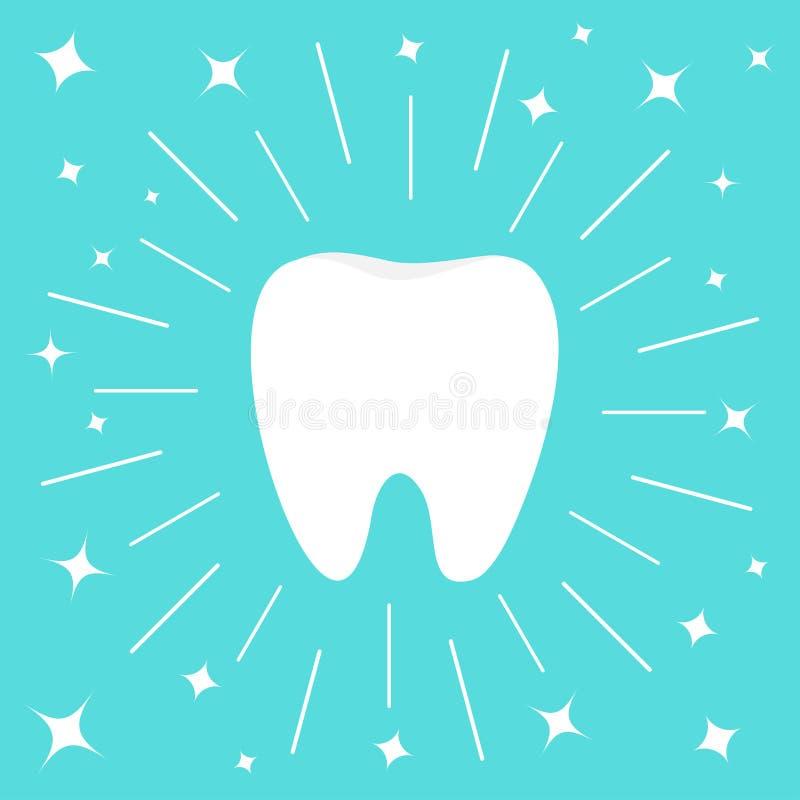 Gezond wit tandpictogram Ronde lijncirkel Mondelinge tandhygi?ne De zorg van kinderentanden Glanzende effect fonkelingssterren Vl stock illustratie