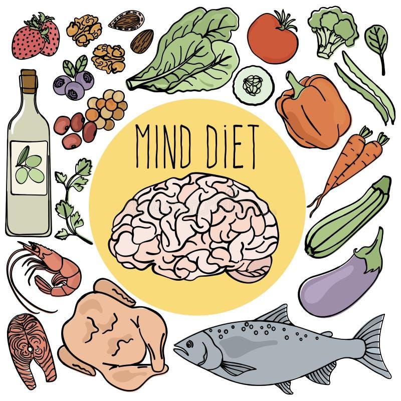 GEZONDE BRAIN Mind Diet Nutrition Vector-Illustratiereeks royalty-vrije illustratie