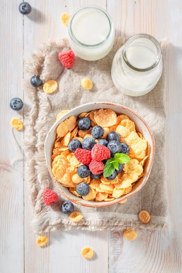 Gezonde cornflakes met bessen en melk voor ontbijt royalty-vrije stock foto