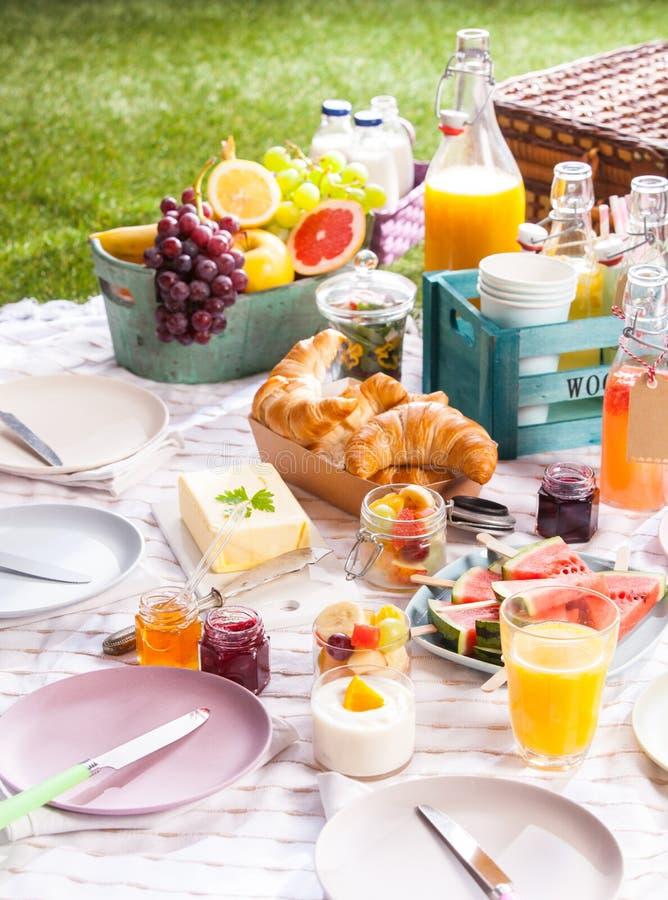 Gezonde de zomerpicknick met fruit en croissants stock afbeelding