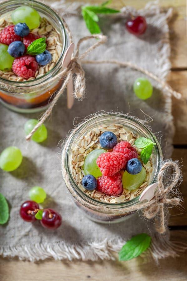 Gezonde die havervlokken van yoghurt en verse bessen worden gemaakt stock fotografie