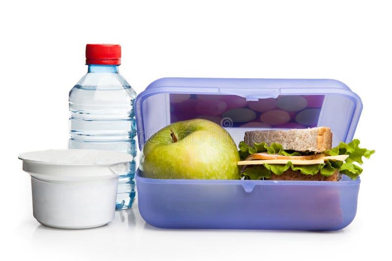 Gezonde die Lunchbox op Wit wordt geïsoleerd royalty-vrije stock afbeeldingen