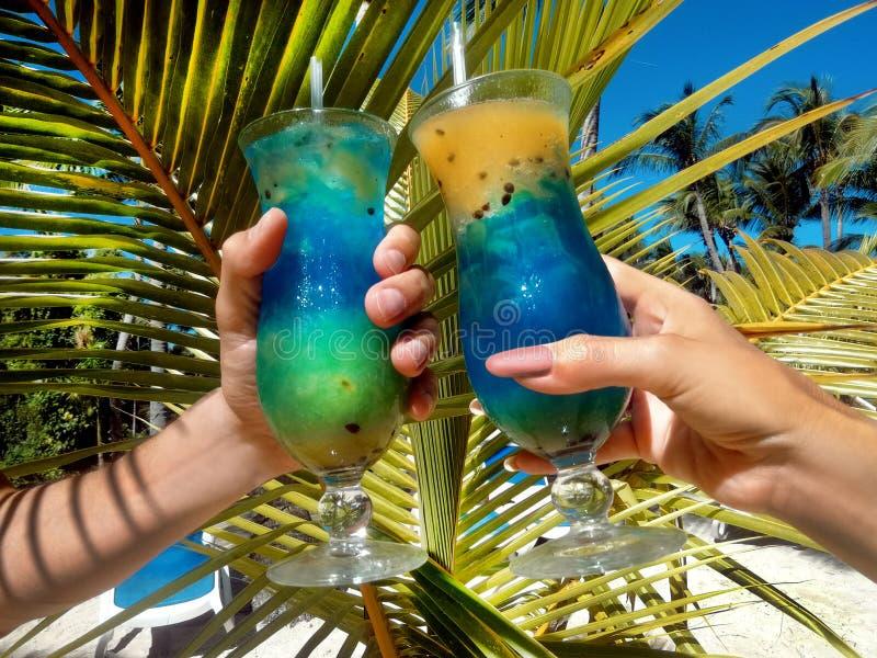 Gezonde drank op een Cara?bisch strand Ananas en kokosnoot handbediend op het strand royalty-vrije stock afbeeldingen