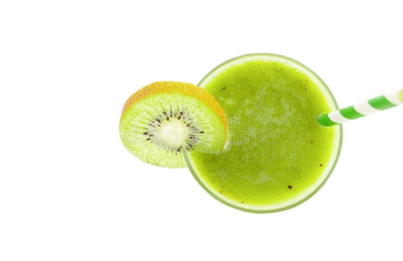 Gezonde drank van het de milkshakemengsel van het kiwi smoothies de groene vruchtensap stock foto