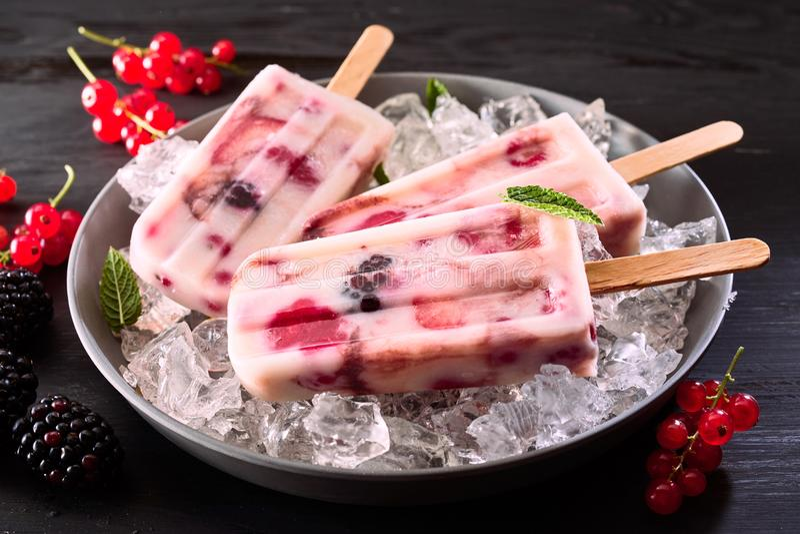 Gezonde fruitige bevroren yoghurtijslollys royalty-vrije stock afbeelding