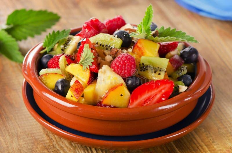 Gezonde fruitsalade met muntbladeren stock afbeelding