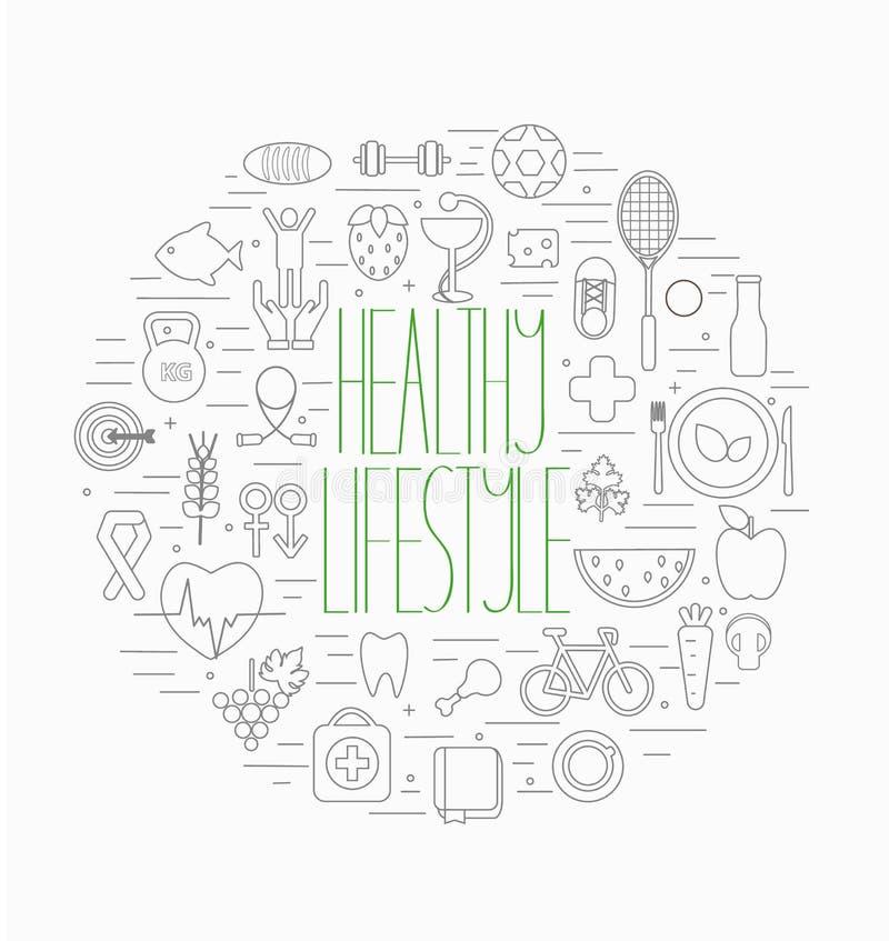 Gezonde geplaatste levensstijlsymbolen vector illustratie