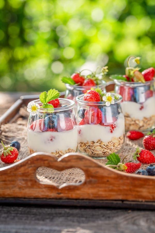 Gezonde granola met bessen en yoghurt in kruik royalty-vrije stock afbeeldingen