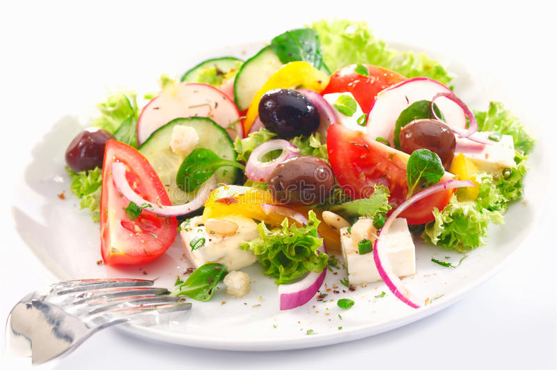 Gezonde Griekse salade stock afbeelding