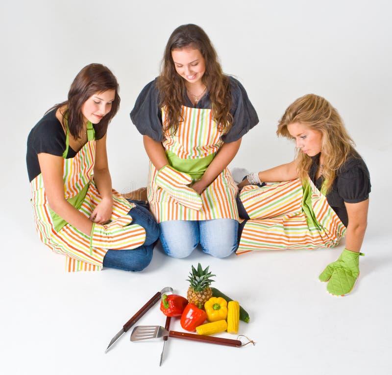 Gezonde grillvoorbereiding stock foto's
