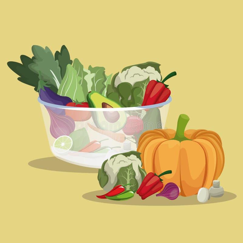 Gezonde groenten verse ingrediënten royalty-vrije illustratie
