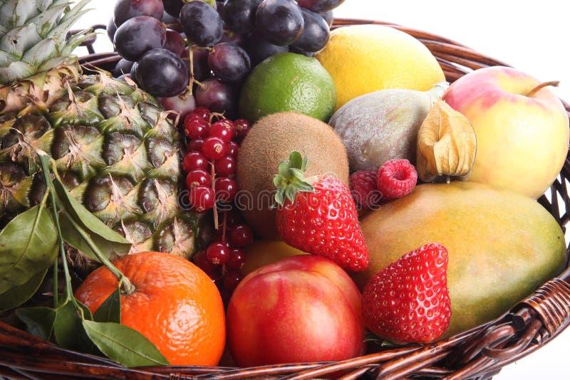 Gezonde het eten achtergrond Isoleerden de de verschillende vruchten en groenten van de voedselfotografie witte achtergrond stock foto