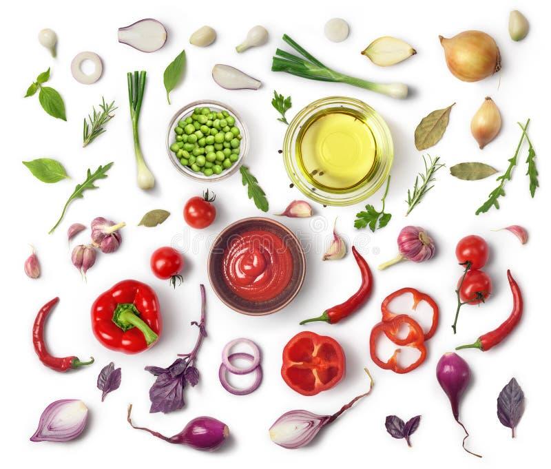 Gezonde het eten achtergrond/studiofotografie van verschillende vruchten en groenten op witte achtergrond stock foto's