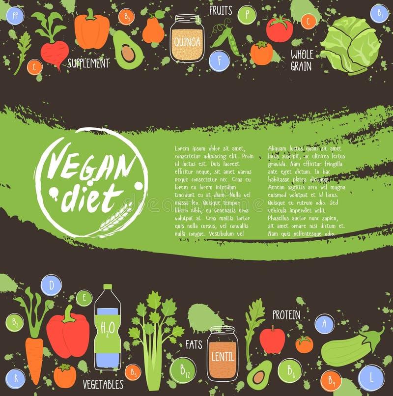 Gezonde het voedselachtergrond van het veganistdieet, vector royalty-vrije illustratie
