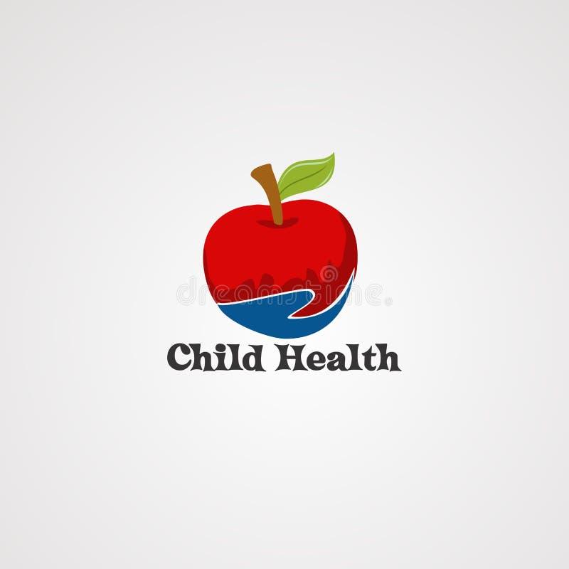 Gezonde kinderverzorging embleemvector, pictogram, element, en malplaatje voor bedrijf stock illustratie