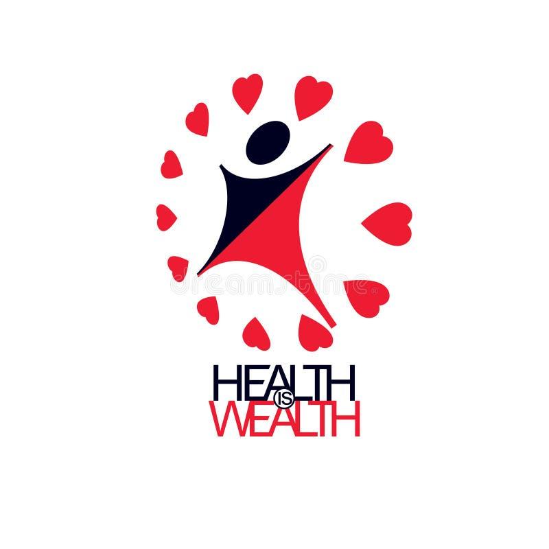 Gezonde levensstijl conceptuele logotype, pictogram Voor gebruik in charitab stock illustratie