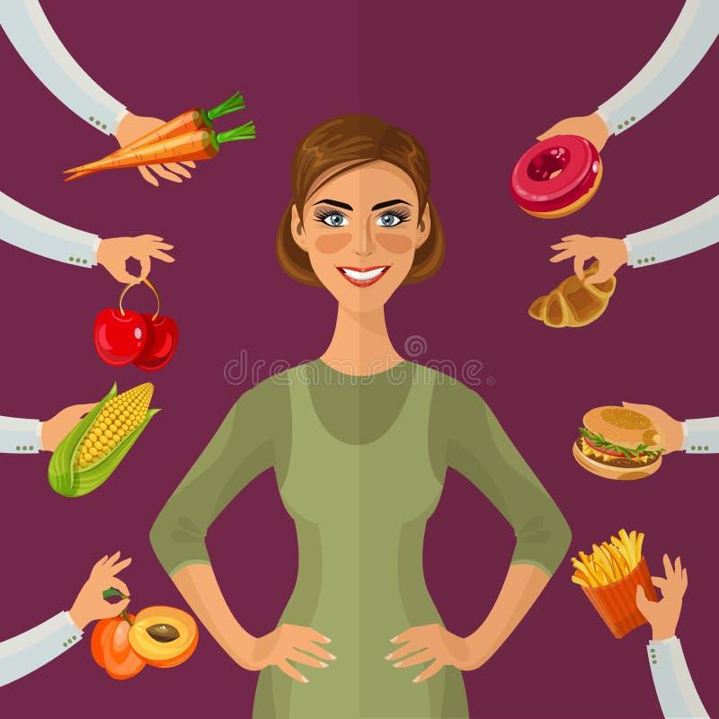 Gezonde levensstijl, een gezonde voeding en een dagelijks werk Dieet Keus van meisjes: zijnd vet of slank Gezonde levensstijl en  vector illustratie